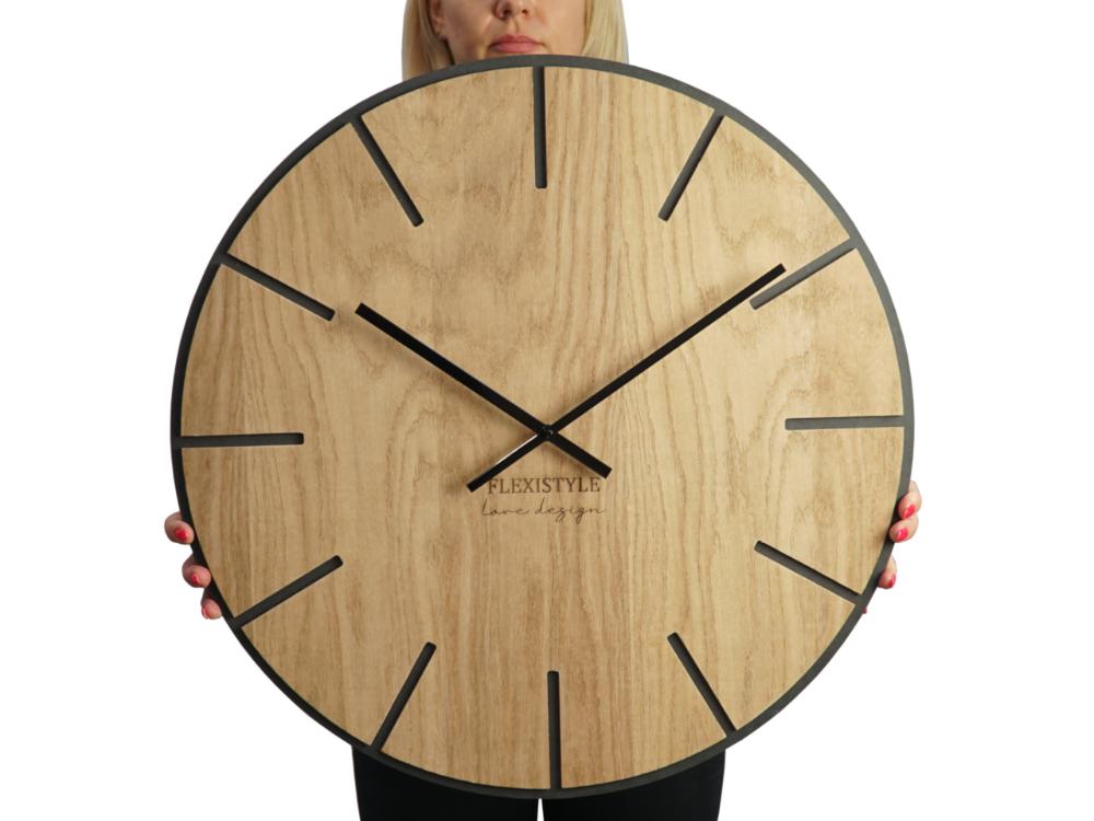 Wielki Cichy Zegar Scienny Dab Czern Wood Art 60cm Wall Clock Clock Wall