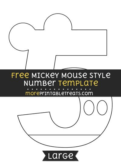 Free Mickey Mouse Style Number 5 Template - Large Shapes and - number template