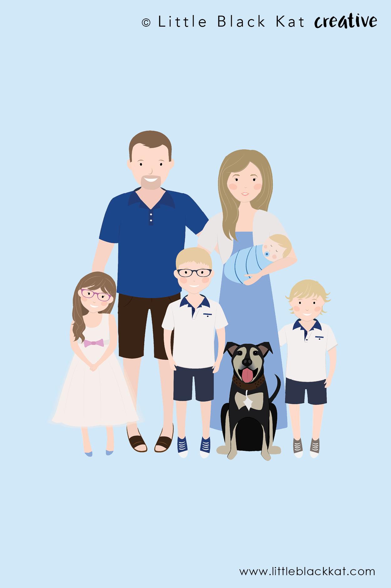 Family Portrait Illustration Custom Family Portrait Cartoon Drawing Digital Portrait Illustration Custom Family Portrait Portrait Cartoon Family Illustration
