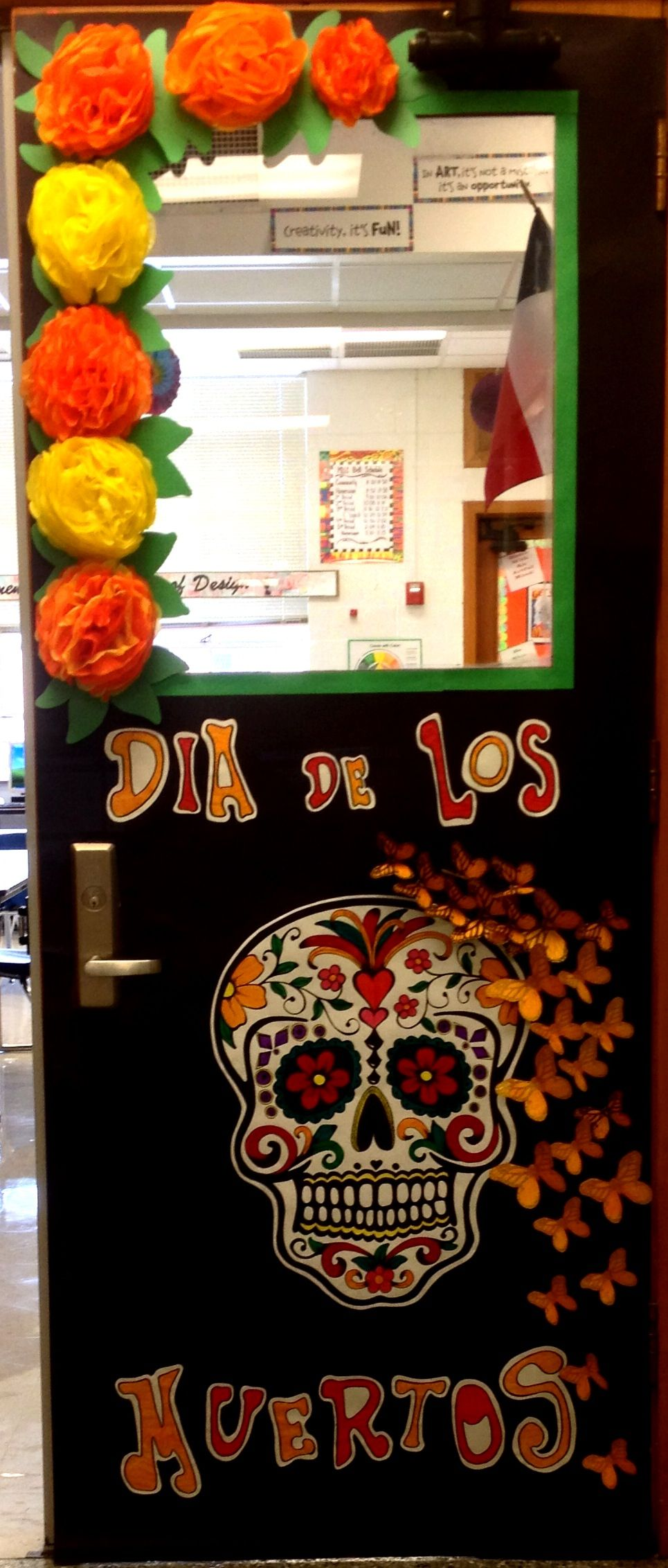 Day of the dead door decoration Hija selva Pinterest - Halloween Classroom Door Decorations