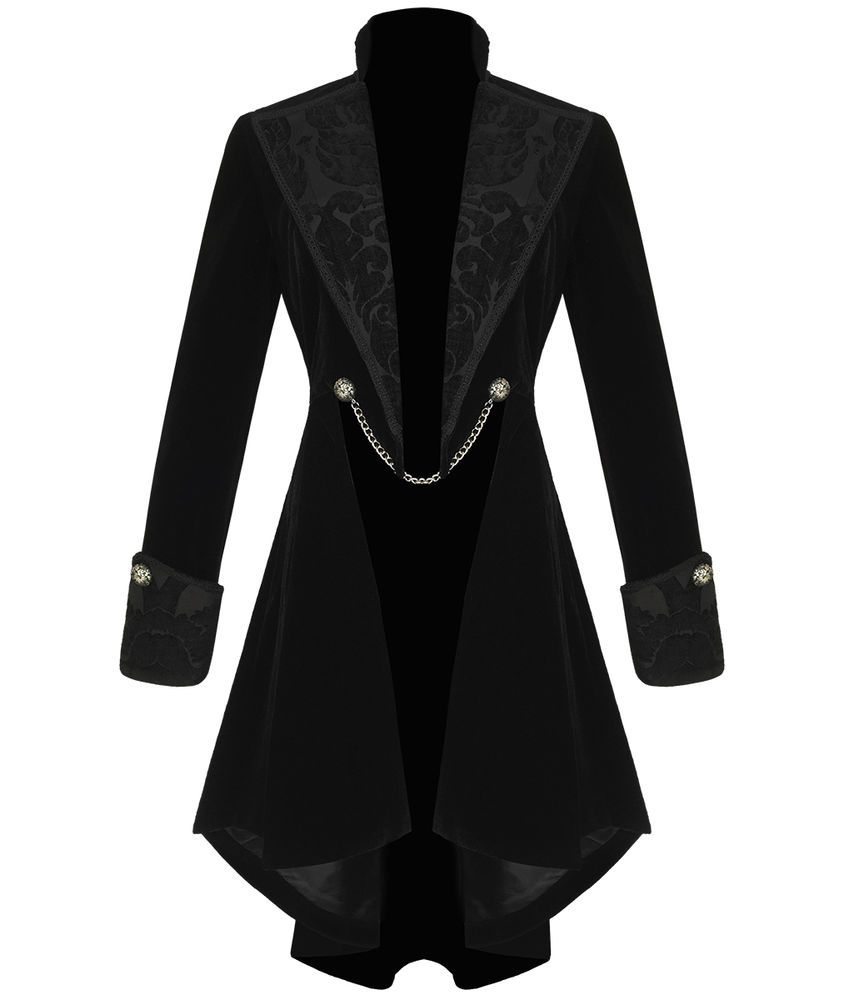 Pentagramme Womens Gothic Jacket Coat Black Velvet Steampunk VTG Tailcoat in Clothes, Shoes & Accessories, Women's Clothing, Coats & Jackets   eBay