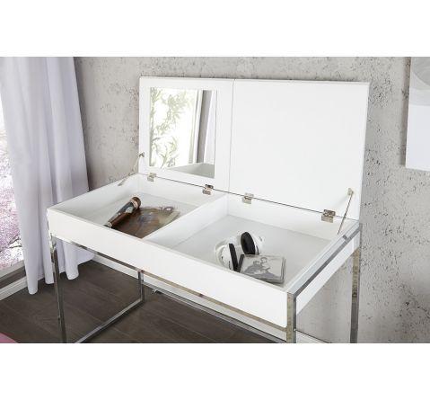 Coiffeuse design blanc laqué Victoria 115 cm | Coiffeuse design ...