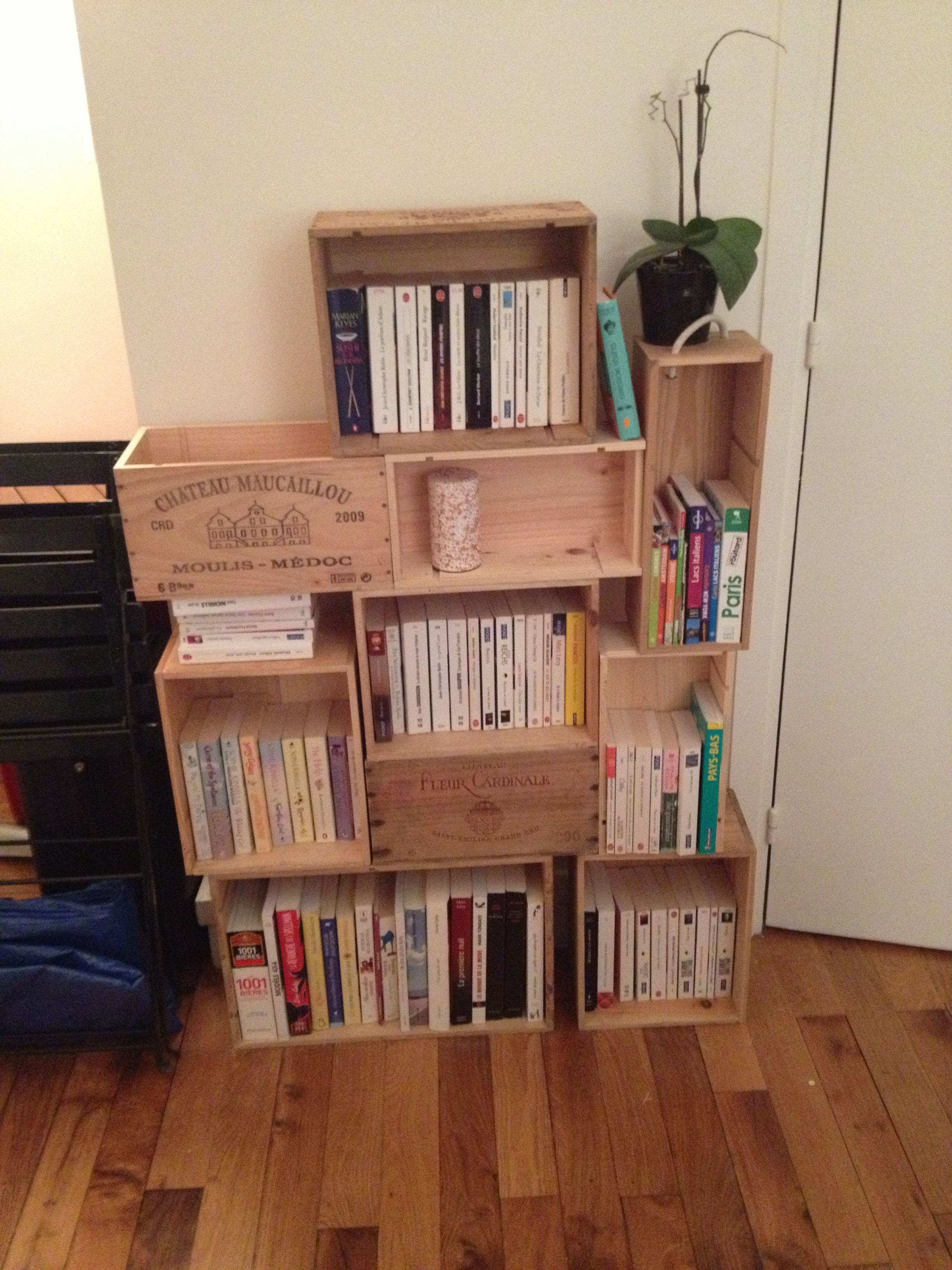 Caisse De Vin Biblioth Que 1001 Pallets Pinterest Caisses De  # Meuble Tv Caisse Vin