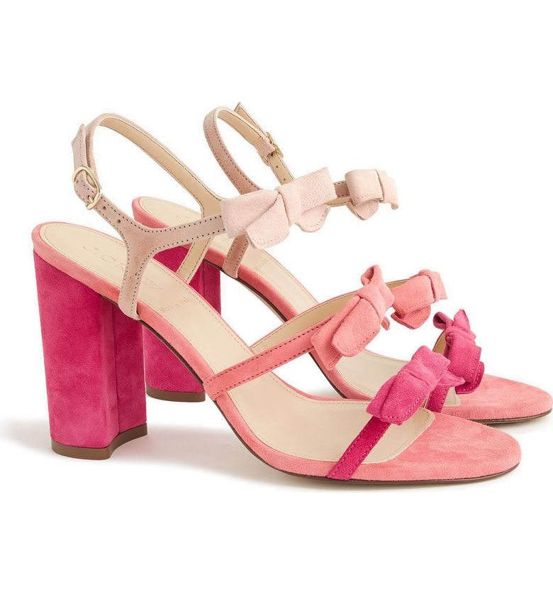 10d1f00ca4a0 Dainty bow-embellished straps add a refined flourish to this strappy block- heel sandal made in Italy. Free shipping ...