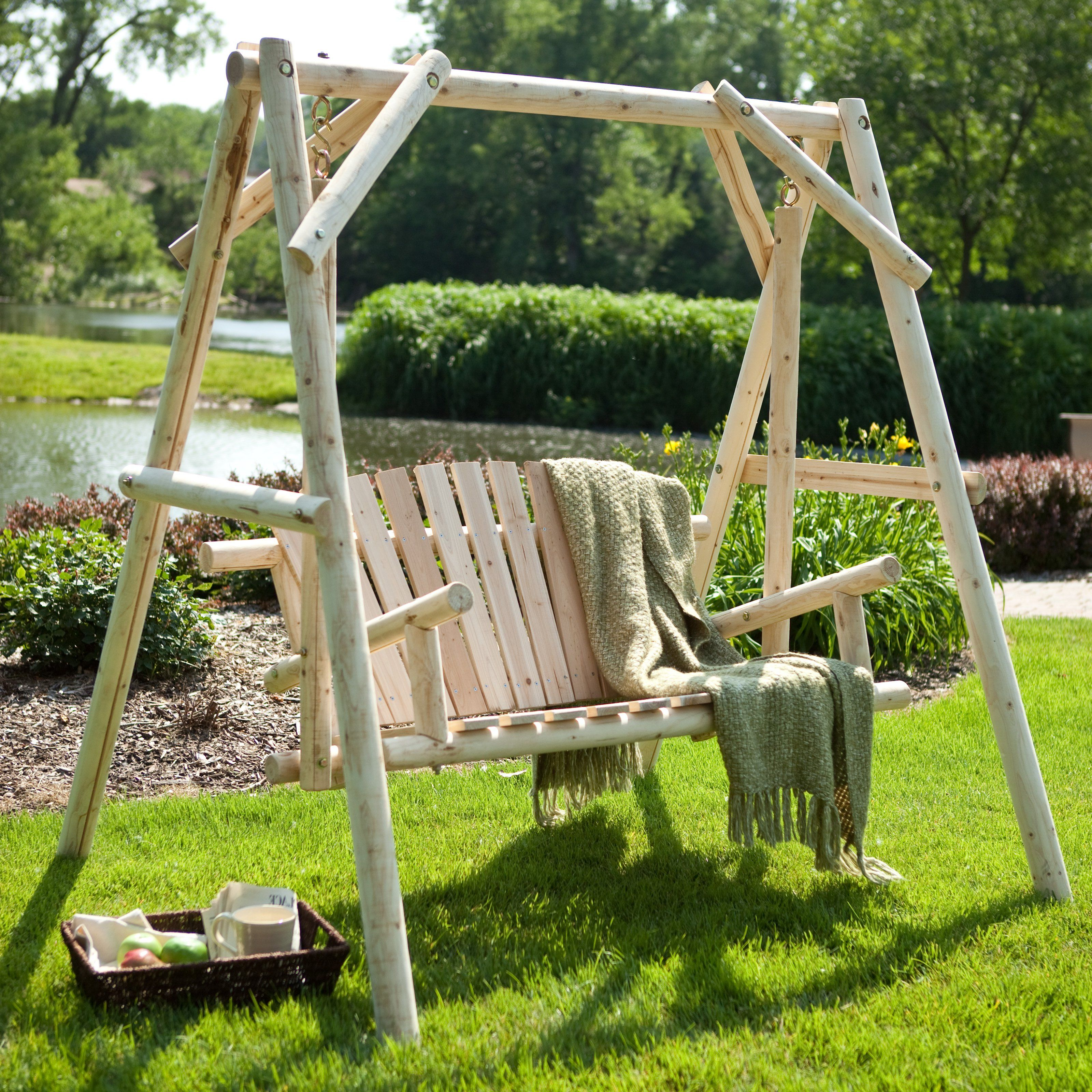 Luxury Wooden Porch Swing with Frame