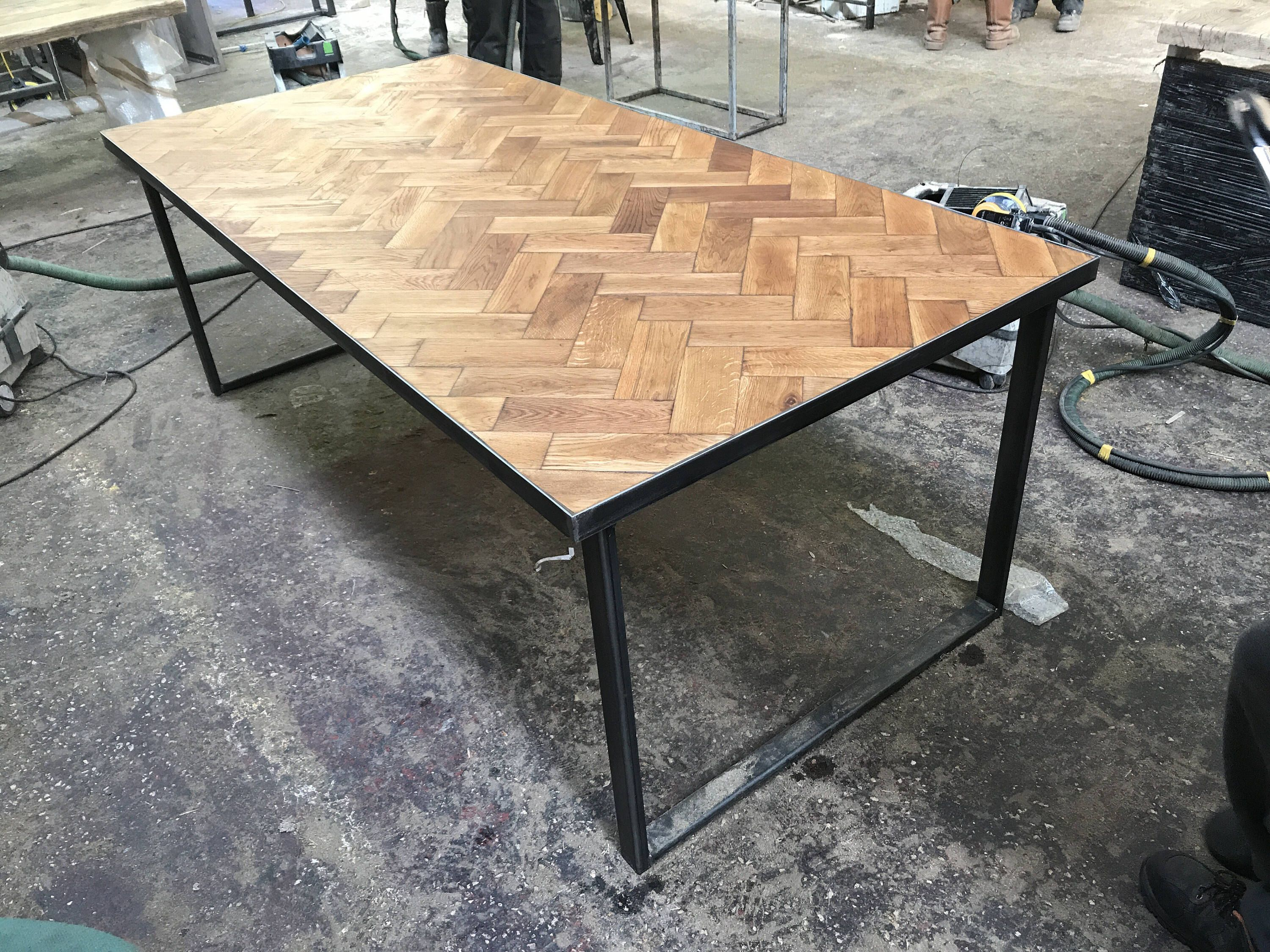 83100286106 Reclaimed Solid Oak Parquet Industrial Chic 6-8 Seater Solid Wood  amp   Steel Dining