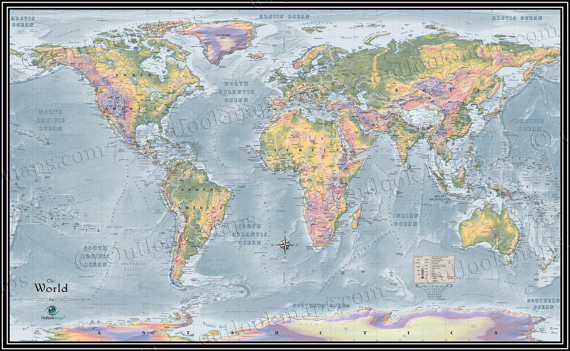 Topographical World Map Showing Elevation And Natural Features Colorful Map Wall Maps Tintin