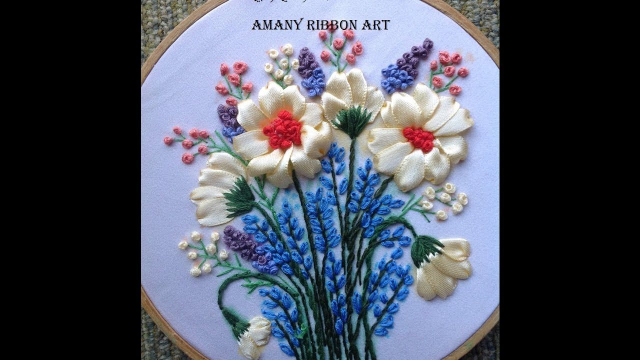 Amany Ribbon Art 36 تطريز بشرائط الساتان لوحة بخطواتها Ribbon Art Silk Ribbon Embroidery Ribbon Work