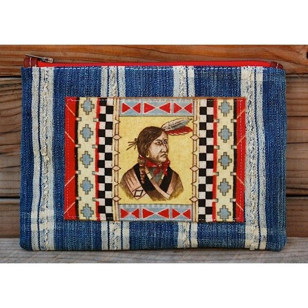 """Hand Crafted In California  This is a Vintage Native American Tobacco Flannel  Vintage Indigo Body Front and Back  This Pouch Is 11"""" x 8""""  Vintage Fabric 100% Cotton Lining  YKK Zipper With Leather Pull    These flannels first appeared in the late 1890s in the United States and Europe. Other series featuredKewpie-doll characters, Indian chief portraits, and antique rug designs; and some series were printed on silk and featured beautiful women or flowers.  Never wash…"""