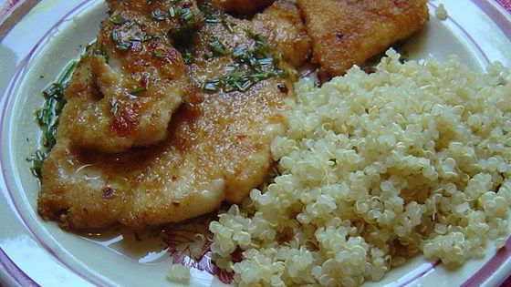Thin, breaded chicken breasts topped with a flavorful lime-butter sauce. Pounding the breasts doesn't take long and the resulting tender chicken is worth it.