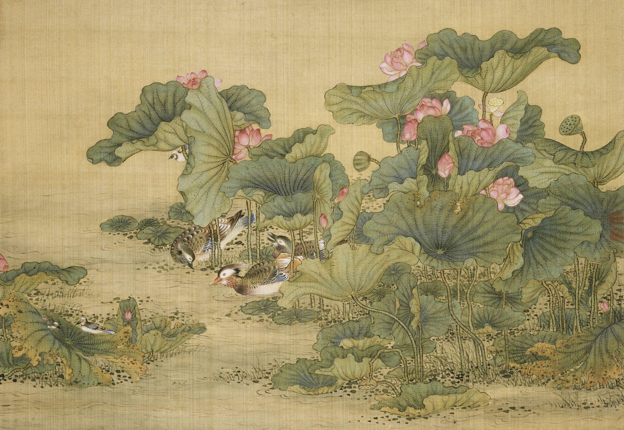 Album Of Birds And Animals Mandarin Ducks And Lotus Flowers