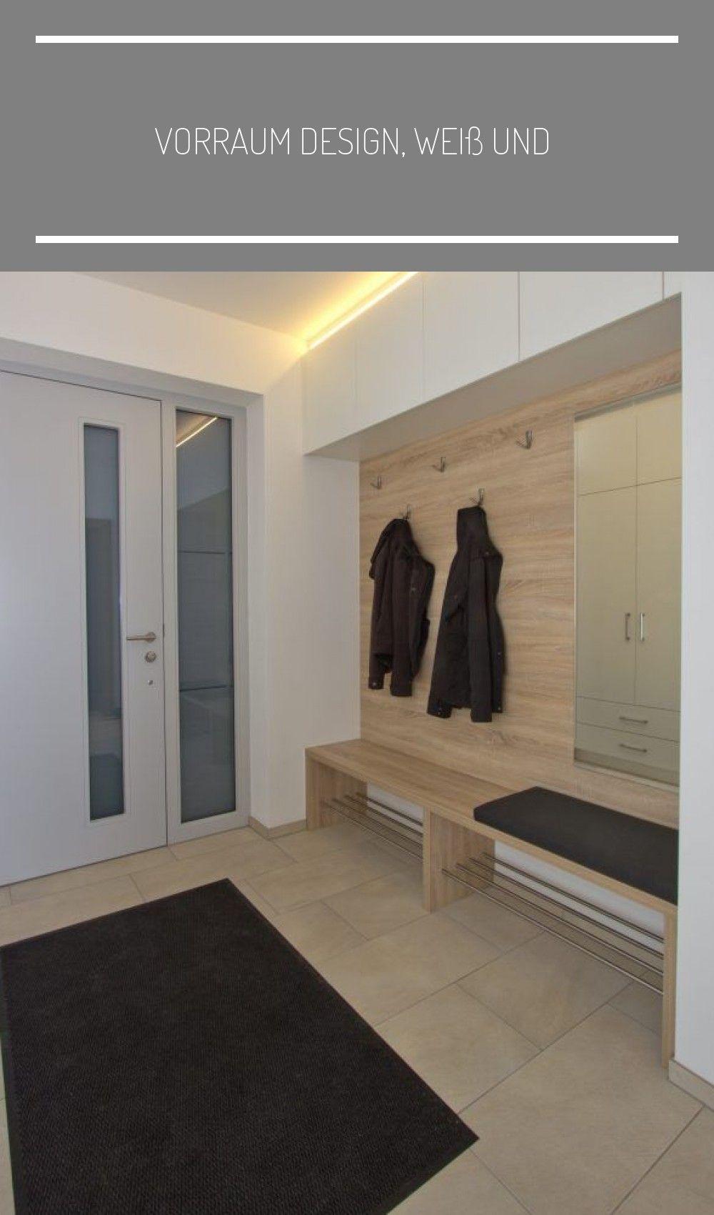 Vorraum Design Weiss Und Holz Modern Sitzbank Diele Garderobe