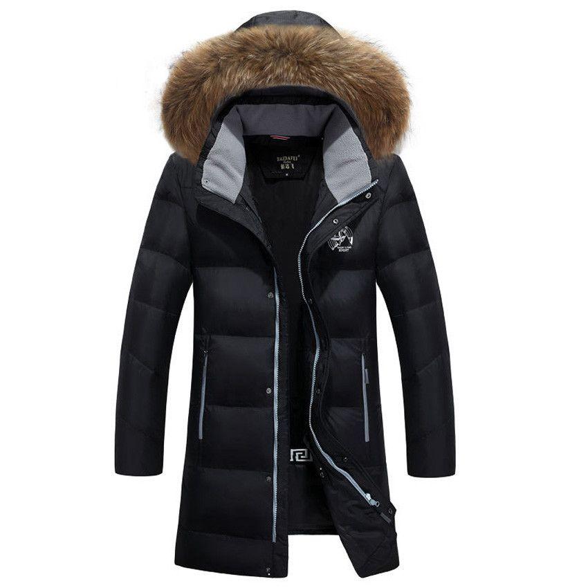 Men Warm Fashion Duck Down Coat Parka Outerwear Long Jacket Winter Overcoat 2018