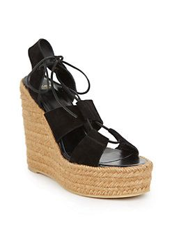 5b71b8e88a14 Saint Laurent - Suede Lace-Up Espadrille Platform Wedge Sandals ...