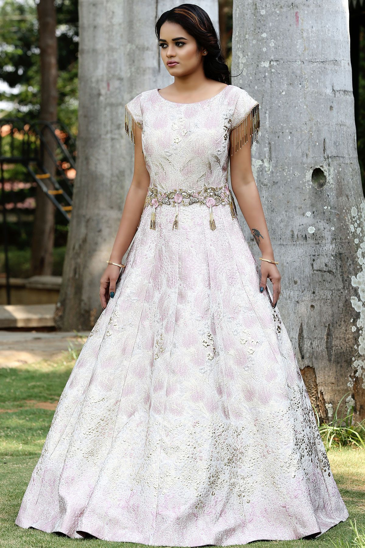 4db7c71907 Buy Pink   Gold Embossed Italian Evening Gown Online