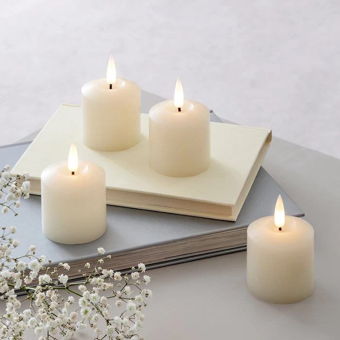 Lights4fun Small Church Pillar Battery Operated Wax LED Candle with Timer