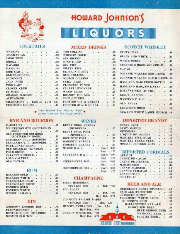 Never Knew Hojos Served Liquor  Vintage Menus    Menu