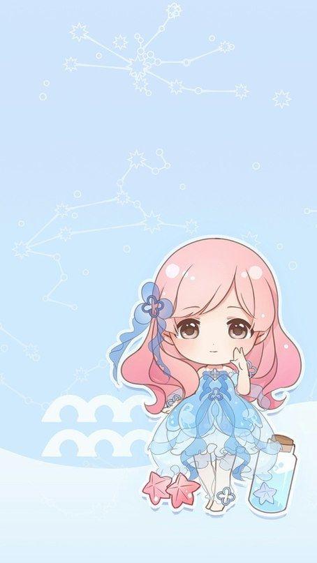 Bao Binh Aquarius Anime Zodiac Kawaii Chibi Cute