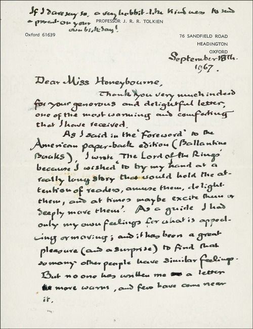 J R R Tolkien S Handwritten Letter Discussing The Motivation