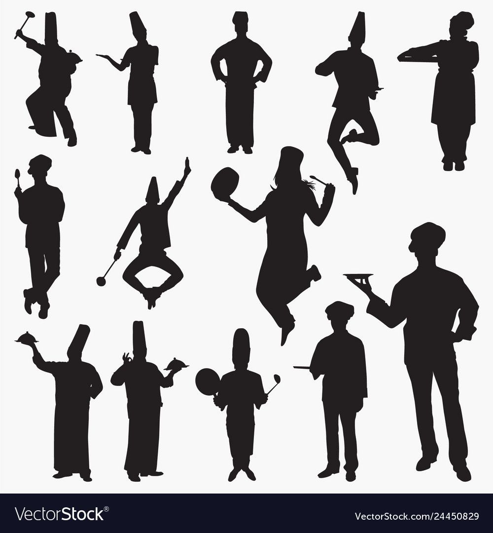 Silhouettes Chef Royalty Free Vector Image Vectorstock Sponsored Royalty Chef Silhouettes Free Ad Book Silhouette Vector Free Free Vector Images