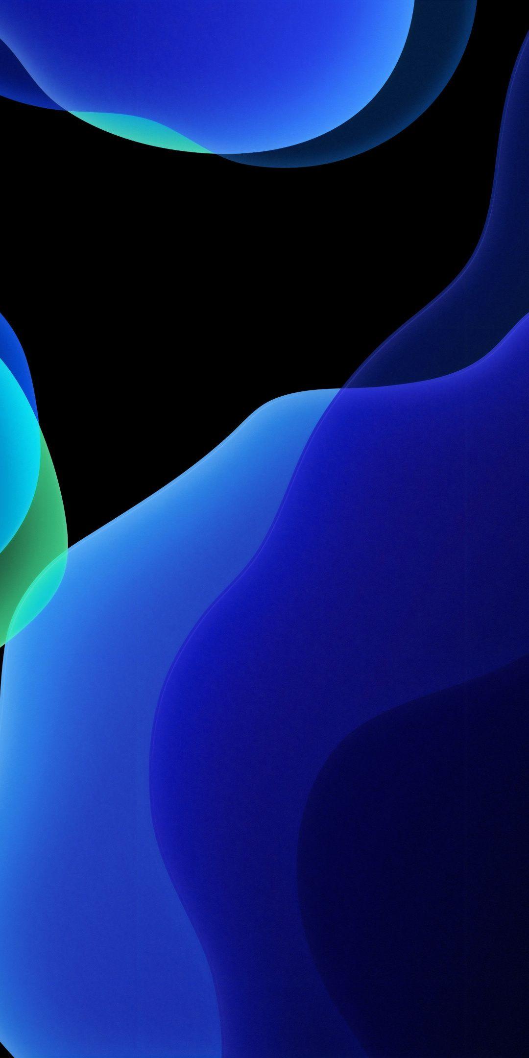 1080x2160 Darkblue, iOS 13, abstract wallpaper Обои для