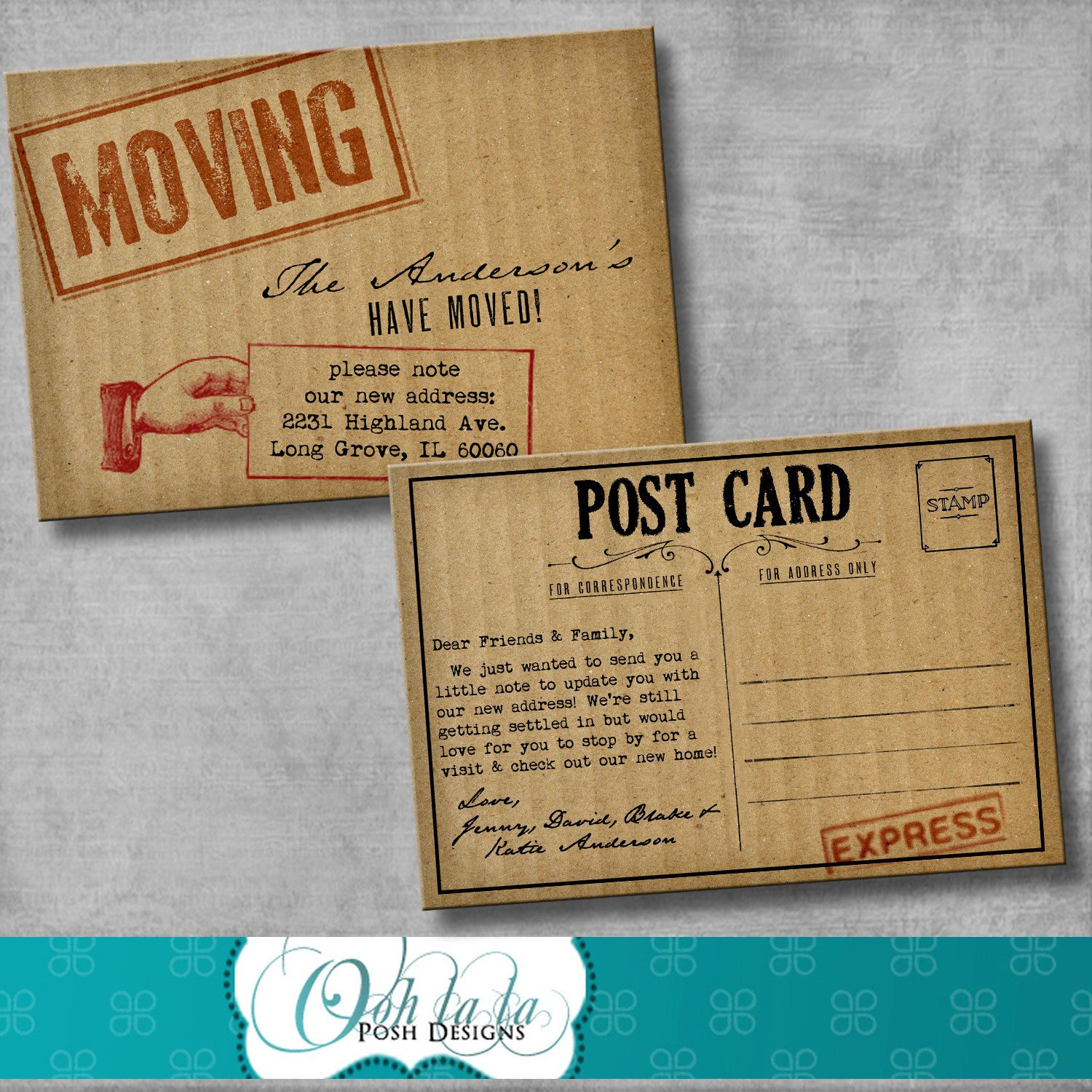 Moving announcement change of address cards cardboard diy moving announcement change of address cards cardboard diy printable customizable kristyandbryce Gallery