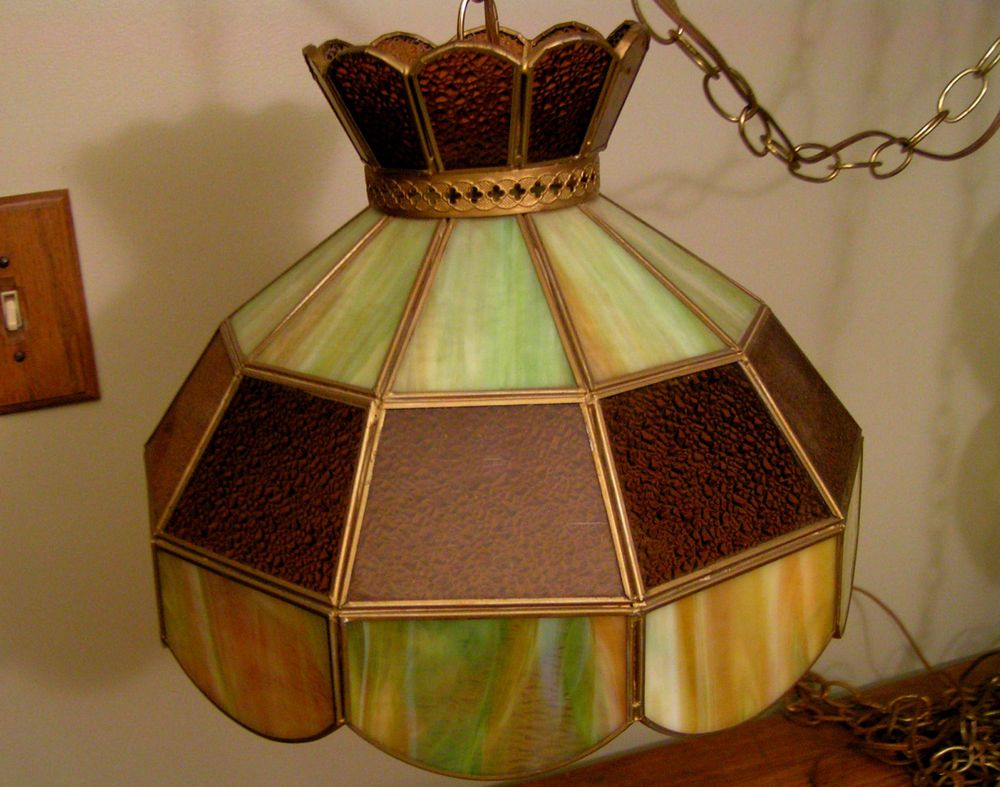 Vintage Tiffany Style STAINED GLASS HANGING LIGHT Swag