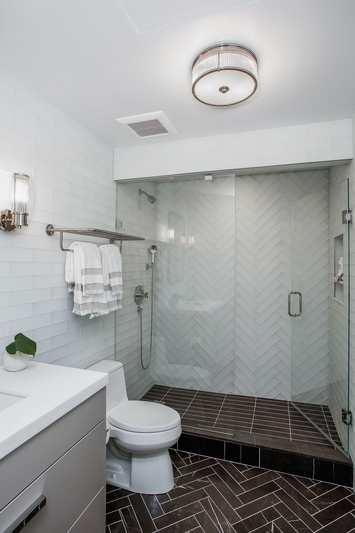 Fully Tiled Bathroom Walls Herringbone Tile Frame Less Gl Shower Door And Niche For