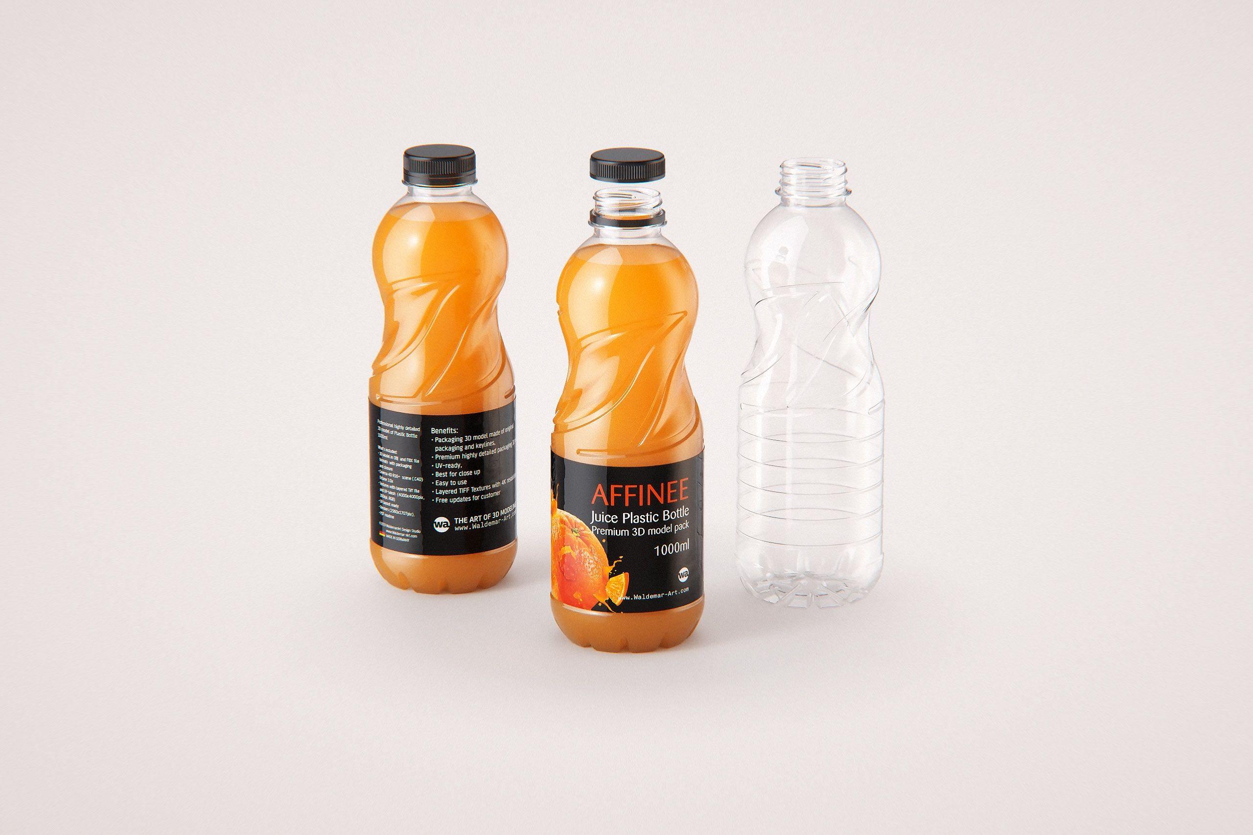 Affinee Juice PET Plastic Bottle 1000ml packaging 3d model