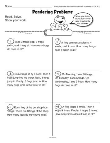 Math Word Problem Worksheet For Addition Of Three Numbers A Freebie From Themailbox Math Word Problems Word Problems Word Problem Worksheets