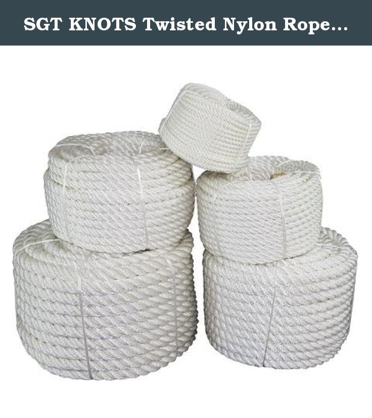 """SGT KNOTS Twisted Nylon Rope 1/4"""", 3/8"""", 1/2"""", 5/8"""", 3/4"""", 1"""", 1.25"""", 1.5"""", 2"""" x Several Lengths (1/4""""x1200' - White). From boats to oil rigs to ranches and beyond, when there's a call for heavy-duty all-weather rope then SGT KNOTS Twisted Nylon is the rope of choice. Twisted nylon is the strongest rope fiber in wide use, and is superior to natural fiber ropes for a variety of applications. Resistant to moisture and unaffected by oil, grease, and most other chemicals, nylon rope is…"""