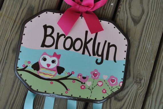 Hairbow Holder - WHOOO LOVES YOU - XLarge - Handpainted and Personalized Bow Holder