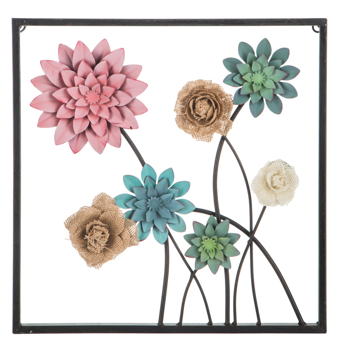 Pink, Green & Burlap Flowers Metal Wall Decor   Burlap ...