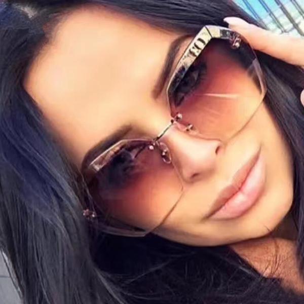 9cf4c7e6fe7e Luxury Vintage Rimless Sunglasses Women Brand Designer Oversized Retro Female  Sunglass Sun Glasses For Women Lady Sunglass 2018