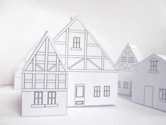 paper house template - Szukaj w Google Papierowe miasta - paper design template