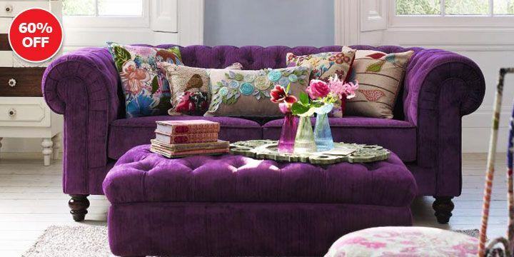Debenhams Purple Chesterfield Sofa And Footstool Purple