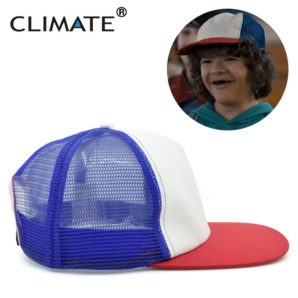 08c560852baaf CLIMATE Stranger Things Drama Dustin 100% Recover Cosplay Snapback Caps  Baseball Mesh NetTrucker Hat Summer for Cool Boy Adult-in Baseball Caps  from Men s ...