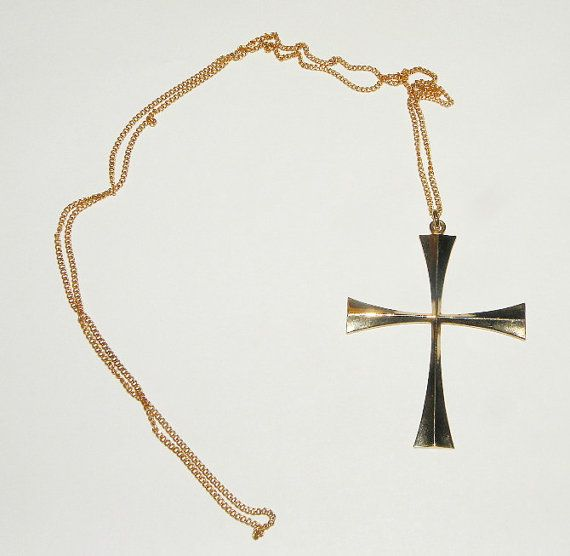 Vintage 12 GF Large Cross Pendant and Necklace by Eosophobish, $18.00