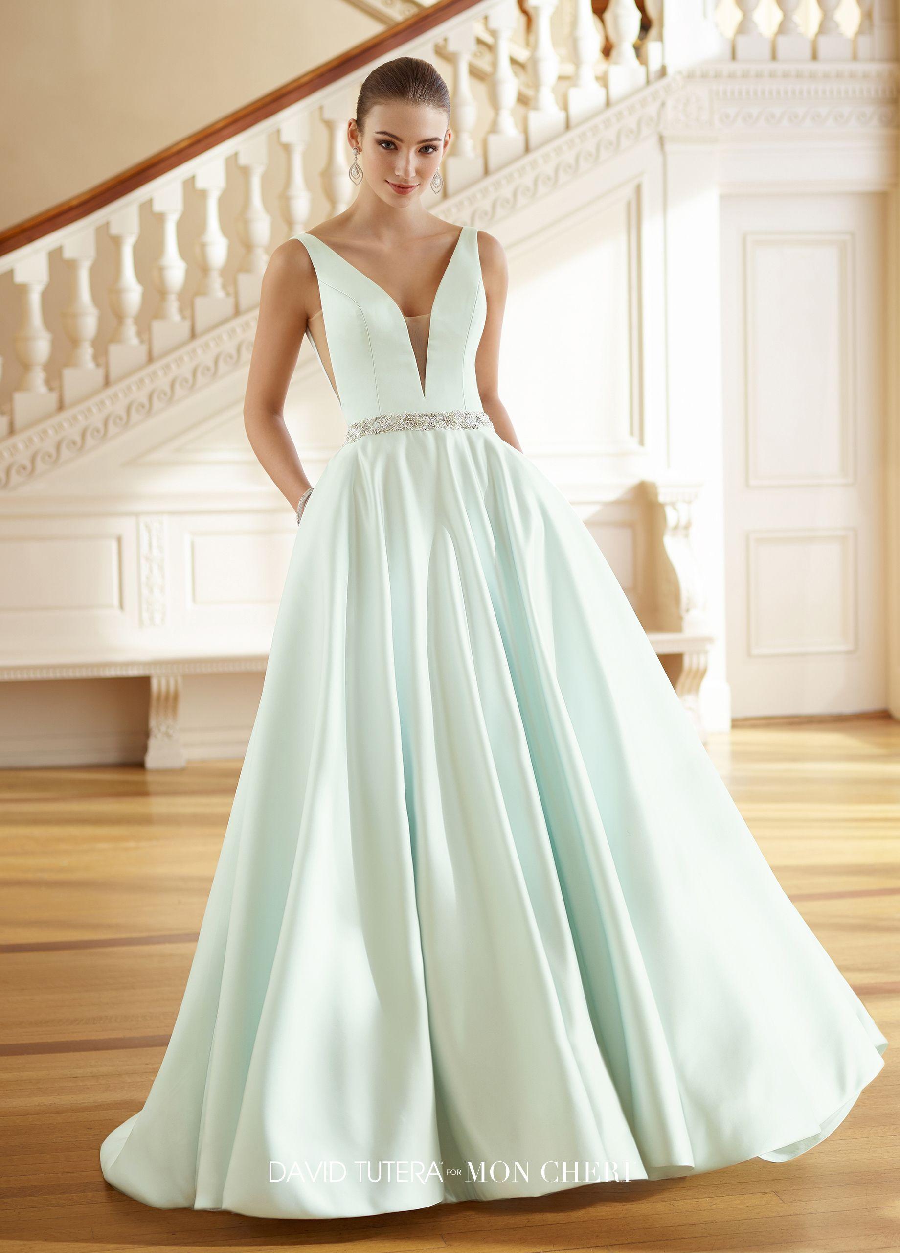 V-Neck Satin A-line Wedding Dress with Pockets & A Belt- 217215 ...