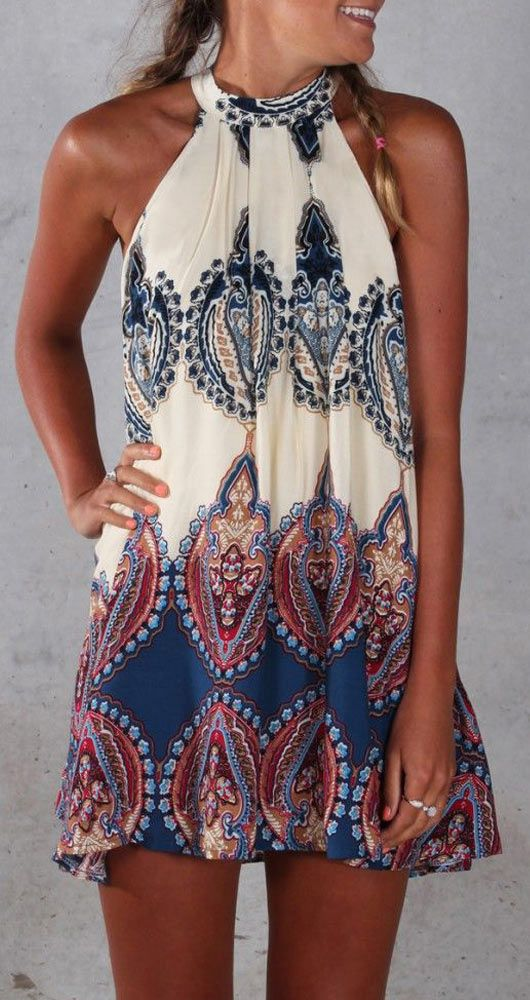 379efede4 Boho Printed Halter Style Sleeveless Beach Dress | Fashion ...