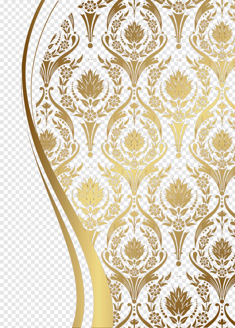Background Batik Png : background, batik, Motif, Pattern,, Golden, European, Floral, Decor, Wall,, Illustration, Free,