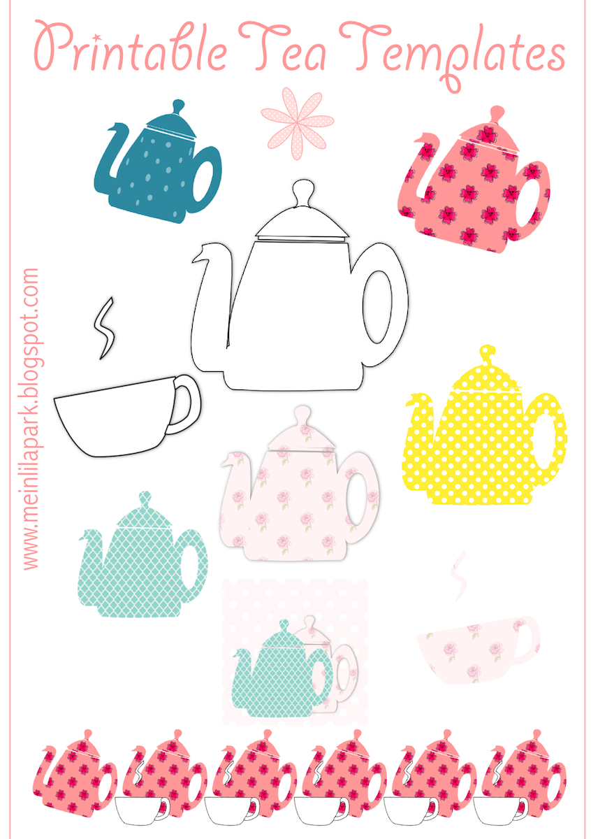 Free printable tea templates + digital teapot stamp - Teekanne Druckvorlage - freebie | MeinLilaPark – DIY printables and downloads