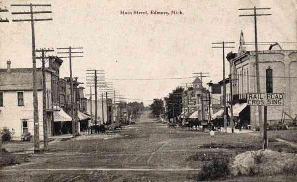 Edmore Mi Main Street 1910 Genealogy History History Montcalm