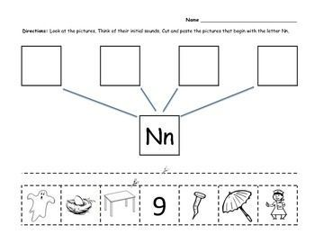 Free. Beginning sounds cut and paste worksheets, letters N-Z ...