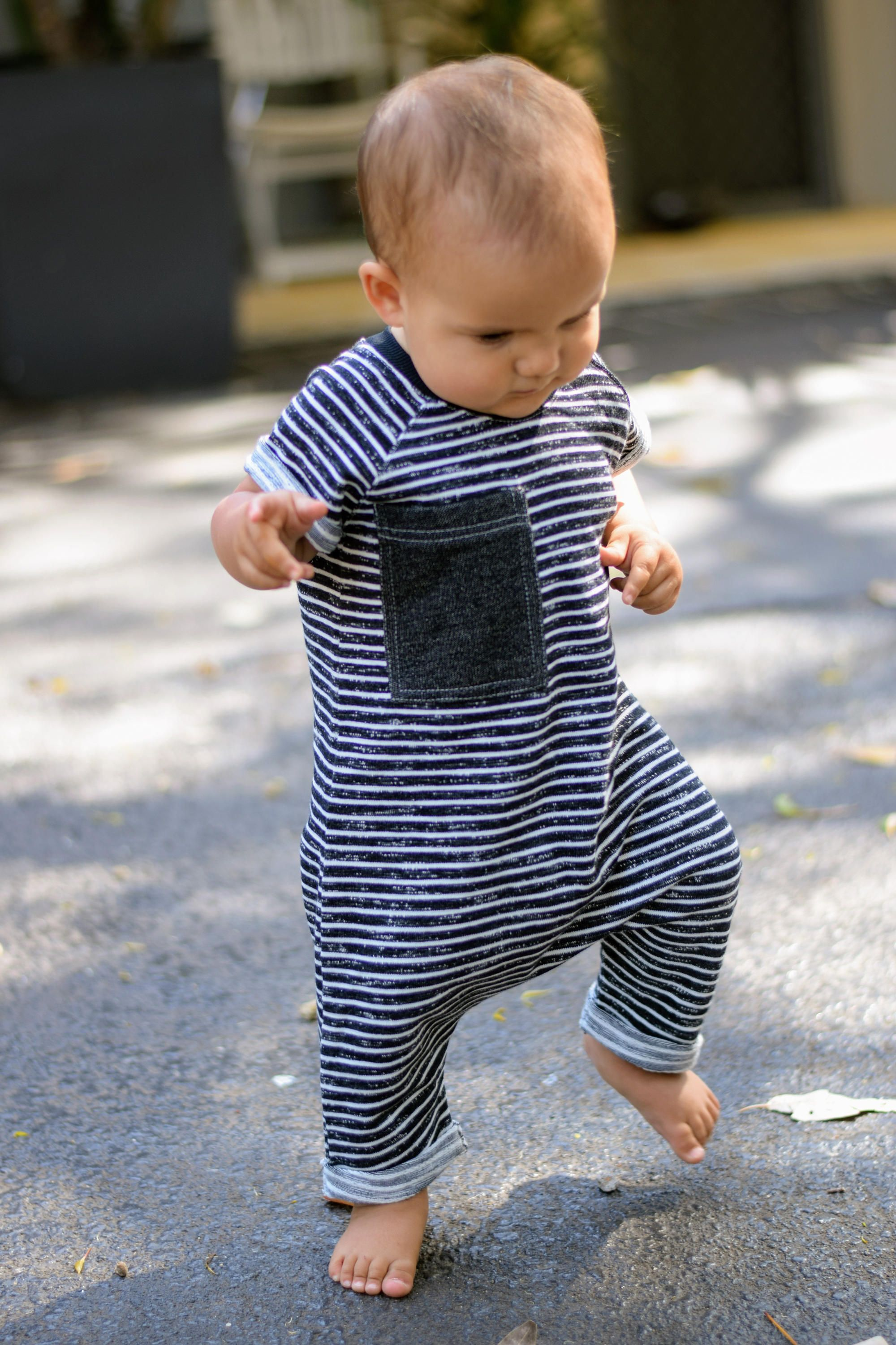 e479d237c Organic French Terry Short Sleeve Romper - BLACK   WHITE STRIPES ...