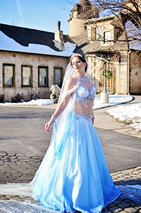 Bellydancer S Winter Theme Wedding Gown Firefly Path Belly Dance