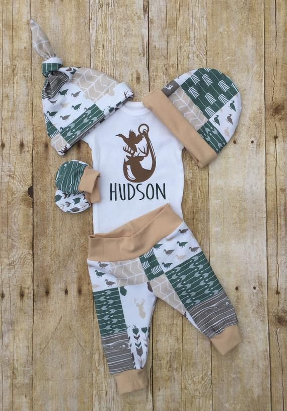 Photo of Duck Deer Hunting Personalized Coming Home Outfit, Camo Antler Baby Boy, Infant Newborn Outfit, Baby Boy Layette Set, Baby Shower Gift
