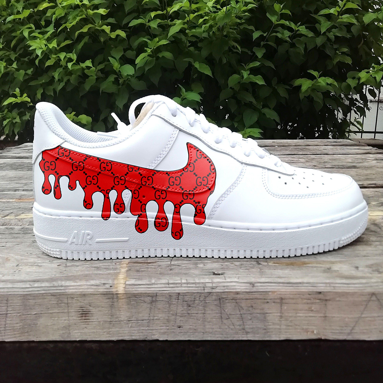 Guccy Red Drip Air Force One Custom Sneaker Custom Air Force 1