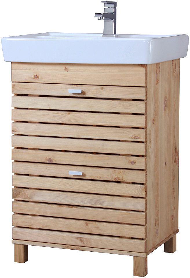Waschtisch »Amrum«, Landhaus, Breite 60 cm, (2-tlg) Jetzt - badezimmermöbel weiß landhaus