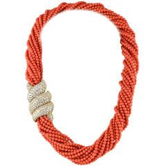 Harry Winston Coral Diamond Gold Torsade Necklace